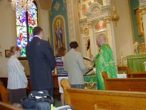 The beginning of the liturgy.